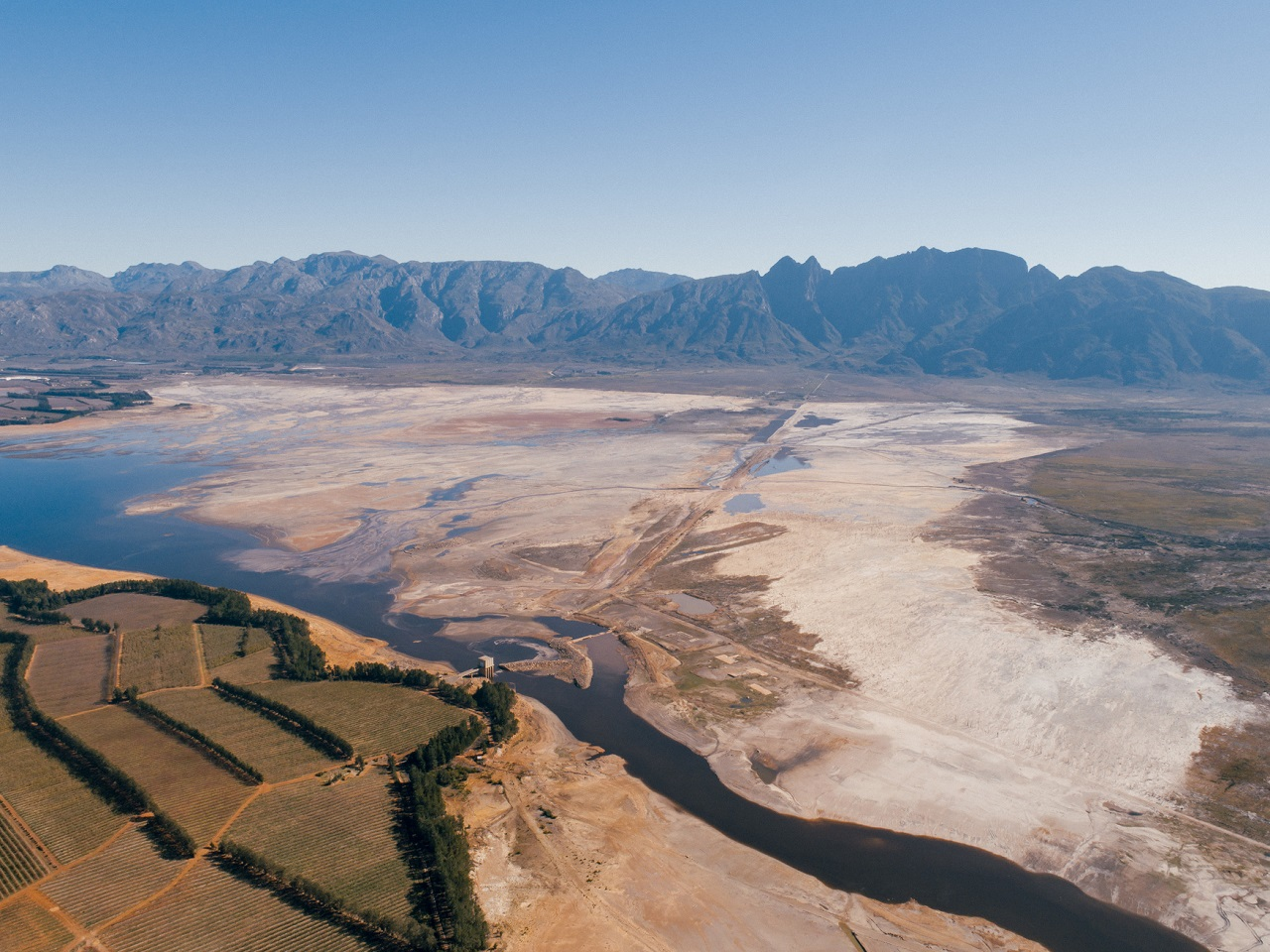 2018 drought - Theewaterskloof Dam, Cape Town, South Africa